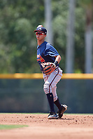 GCL Braves shortstop Livan Soto (13) throws to first base during a game against the GCL Pirates on July 26, 2017 at Pirate City in Bradenton, Florida.  GCL Braves defeated the GCL Pirates 12-5.  (Mike Janes/Four Seam Images)
