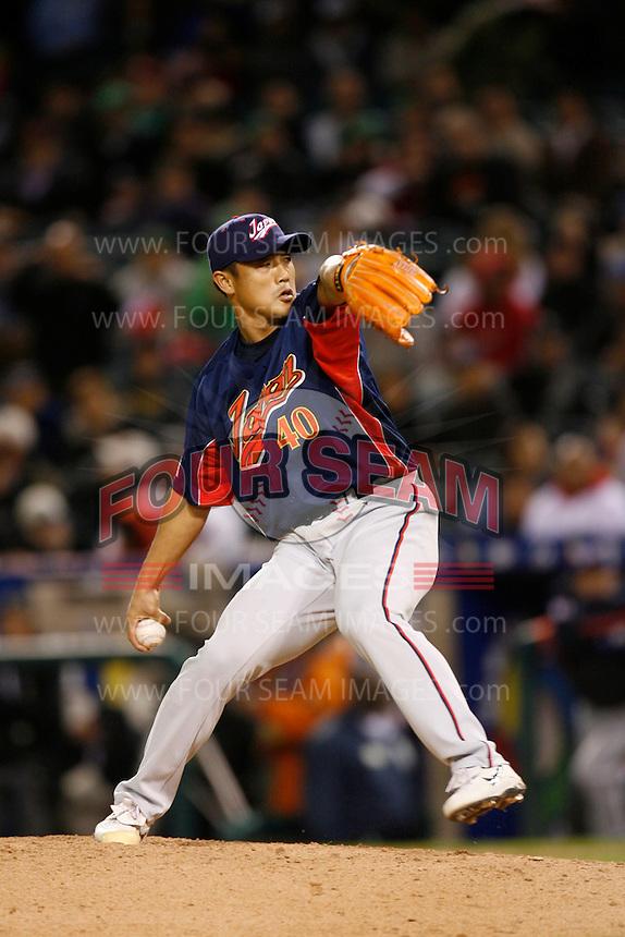 Akinori Otsuka of Japan during World Baseball Championship at Angel Stadium in Anaheim,California on March 14, 2006. Photo by Larry Goren/Four Seam Images