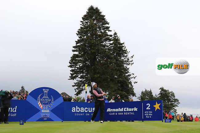 Jodi Ewart Shadoff of Team Europe on the 2nd tee during Day 2 Fourball at the Solheim Cup 2019, Gleneagles Golf CLub, Auchterarder, Perthshire, Scotland. 14/09/2019.<br /> Picture Thos Caffrey / Golffile.ie<br /> <br /> All photo usage must carry mandatory copyright credit (© Golffile | Thos Caffrey)