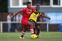 Rickie Hayles of Hornchurch and Kudas Oyenuga of Margate during Hornchurch vs Margate, BetVictor League Premier Division Football at Hornchurch Stadium on 13th August 2019