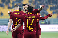 Cengiz Under of AS Roma celebrates with Lorenzo Pellegrini after scoring second goal for his side during the Serie A 2018/2019 football match between Parma and AS Roma at stadio Ennio Tardini, Parma, December, 29, 2018 <br /> Foto Gino Mancini / Insidefoto