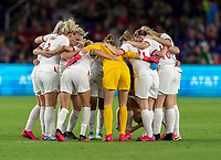 ORLANDO, FL - MARCH 05: England huddles during a game between England and USWNT at Exploria Stadium on March 05, 2020 in Orlando, Florida.