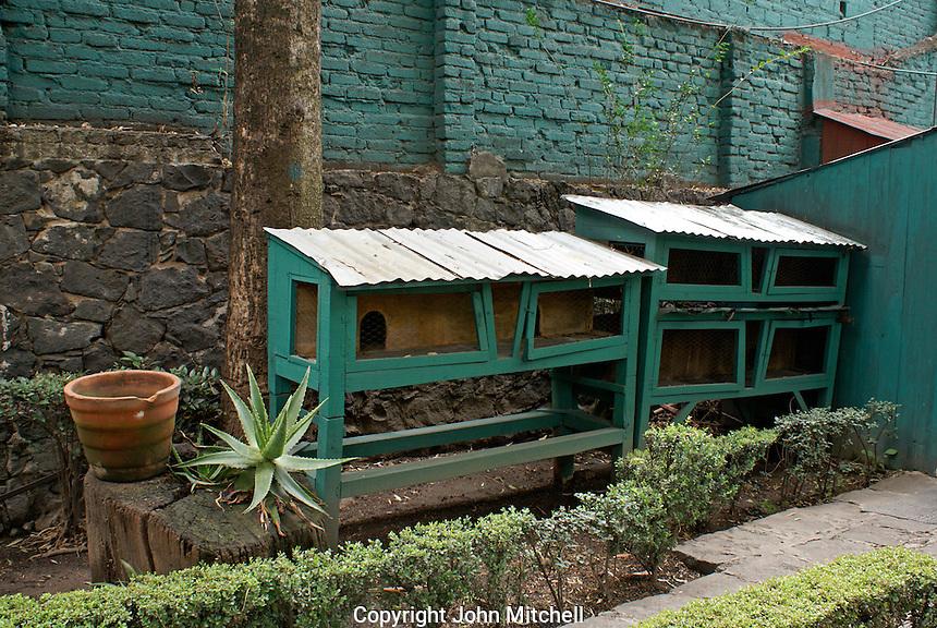 Trotsky's rabbit hutches at the Museo Casa de Leon Trotsky or Leon Trotsky House Museum in Coyoacan, Mexico City