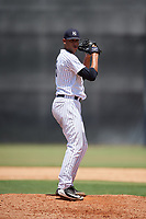GCL Yankees West relief pitcher Argelis Herrera (5) gets ready to deliver a pitch during a game against the GCL Yankees East on August 8, 2018 at Yankee Complex in Tampa, Florida.  GCL Yankees West defeated GCL Yankees East 8-4.  (Mike Janes/Four Seam Images)