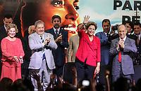 SAO PAULO, SP, 20 FEVEREIRO 2013 - 10 ANOS DO PT NO GOVERNO DEMOCRATICO E POLULAR - e/d Marisa Leticia, Ex presidente Luiz Inacio Lula da Silva, presidente da Republica Dilma Rousseff e Presidente do PT Rui Falcao durante evento de 10 anos do PT (Partido dos Trabalhadores) no Governo Democrático e Popular na regiao norte da cidade de Sao Paulo. O evento do PT é o lançamento de uma série de seminários temáticos organizados pelo partidoem parceria com o Instituto Lula ea Fundação Perseu Abramo, para comemorar eavaliar os 10 anos de governo desde a posse de Lula, em 2003. FOTO: WILLIAM VOLCOV - BRAZIL PHOTO PRESS