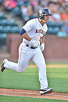 Greeneville Astros first baseman Justin Garcia (16) runs to first during a game against the  Pulaski Yankees on July 11, 2015 in Greeneville, Tennessee. The Yankees defeated the Astros 9-3. (Tony Farlow/Four Seam Images)