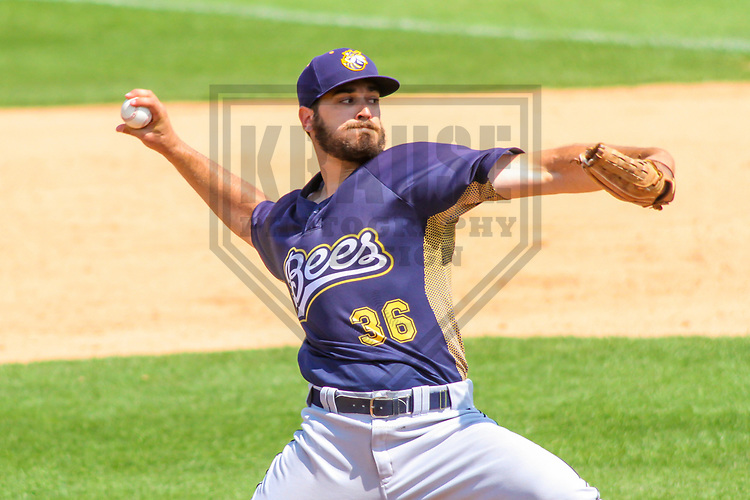 Burlington Bees pitcher Blake Smith (36) during a Midwest League game against the Wisconsin Timber Rattlers on July 10, 2017 at Fox Cities Stadium in Appleton, Wisconsin.  Burlington defeated Wisconsin 6-3. (Brad Krause/Krause Sports Photography)