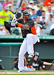 13 March 2012: Miami Marlins infielder Hanley Ramirez in action during a Spring Training game against the Atlanta Braves at Roger Dean Stadium in Jupiter, Florida. The two teams battled to a 2-2 tie playing 10 innings of Grapefruit League action. Mandatory Credit: Ed Wolfstein Photo