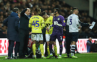 Blackburn Rovers manager Tony Mowbray has a team talk while the team medics attend to Harrison Reed<br /> <br /> Photographer Rachel Holborn/CameraSport<br /> <br /> The EFL Sky Bet Championship - Preston North End v Blackburn Rovers - Saturday 24th November 2018 - Deepdale Stadium - Preston<br /> <br /> World Copyright © 2018 CameraSport. All rights reserved. 43 Linden Ave. Countesthorpe. Leicester. England. LE8 5PG - Tel: +44 (0) 116 277 4147 - admin@camerasport.com - www.camerasport.com