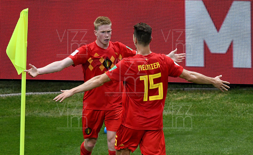 KAZAN - RUSIA, 06-07-2018: Kevin DE BRUYNE jugador de Bélgica celebra con Thomas MEUNIER después de anotar el segundo gol de su equipo a Brasil durante partido de cuartos de final por la Copa Mundial de la FIFA Rusia 2018 jugado en el estadio Kazan Arena en Kazán, Rusia. / Kevin DE BRUYNE player of Belgium celebrates with Thomas MEUNIER after scoring the second goal of his team to Brazil during match of quarter final for the FIFA World Cup Russia 2018 played at Kazan Arena stadium in Kazan, Russia. Photo: VizzorImage / Julian Medina / Cont