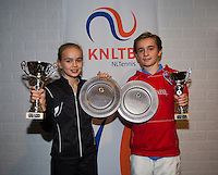 November 30, 2014, Almere, Tennis, Winter Youth Circuit, WJC,  Prizegiving,  Daniel Bénard 2nd place and overall winner andante Spee overll winner<br /> Photo: Henk Koster