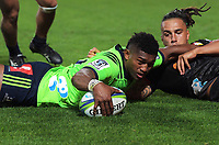 Waisake Naholo scores during the Super Rugby match between the Chiefs and Highlanders at FMG Stadium in Hamilton, New Zealand on Friday, 30 March 2018. Photo: Dave Lintott / lintottphoto.co.nz