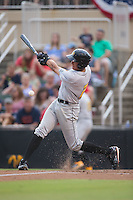 Cole Tucker (2) of the West Virginia Power follows through on his swing against the Kannapolis Intimidators at Intimidators Stadium on July 3, 2015 in Kannapolis, North Carolina.  The Intimidators defeated the Power 3-0 in a game called in the bottom of the 7th inning due to rain.  (Brian Westerholt/Four Seam Images)