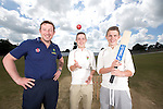 SWALEC ambassador Robert Croft visiting Newtown Cricket Club with team members Callum and Danny Foulkes.<br /> <br /> 24.07.13<br /> &copy;Steve Pope-Sportingwales