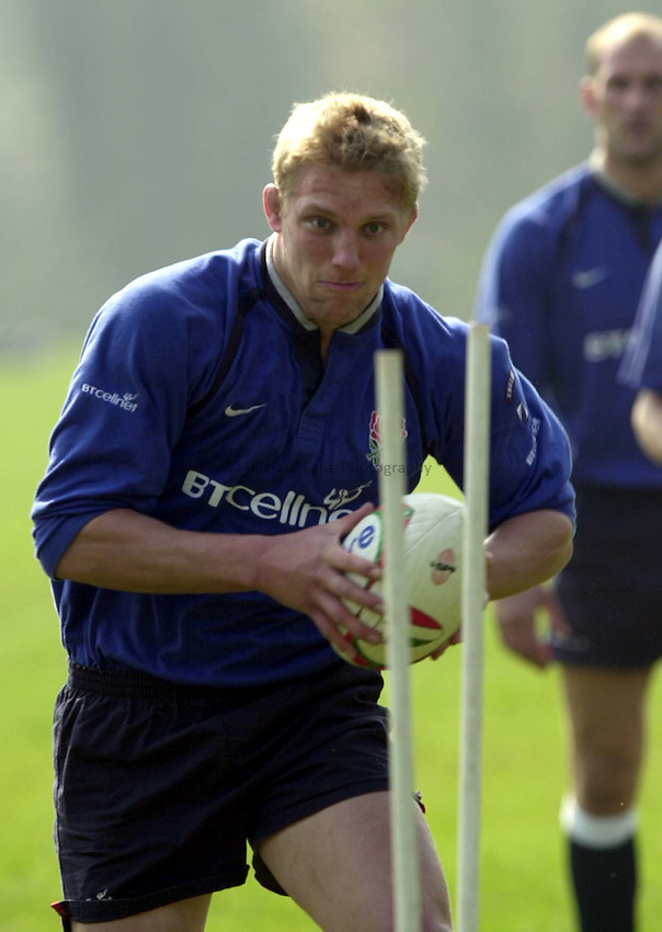Photo. Richard Lane. .England Squad Training at Pennyhill Hotel, Bagshot.. 4-4-2002.Lewis Moody prepares fot the match in Rome.