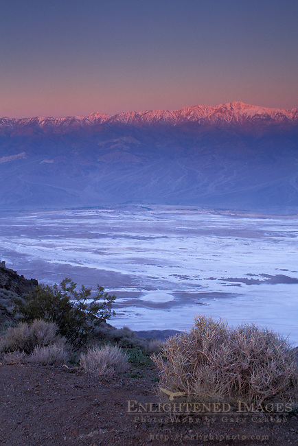 Alpenglow at sunrise on Panamint mountains over salt basin, from Dantes View, Death Valley National Park, California