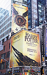 """""""Harry Potter and the Cursed Child"""" Billboard on February 14, 2018 in Times Square, New York City."""