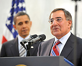 McLean, VA - April 20, 2009 -- United States President Barack Obama is introduced by CIA Director Leon Panetta prior to making remarks to Central Intelligence Agency (CIA) employees at the George Bush Center for Intelligence (CIA Headquarters) in McLean, Virginia on Monday, April 20, 2009..Credit: Ron Sachs / Pool via CNP