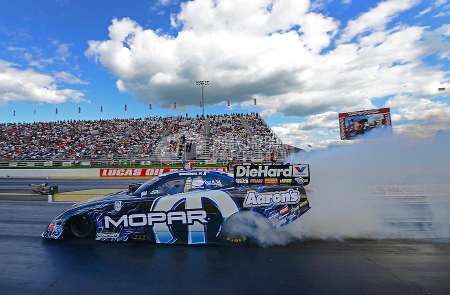 Sept 9, 2012; Clermont, IN, USA: NHRA funny car driver Matt Hagan during the US Nationals at Lucas Oil Raceway. Mandatory Credit: Mark J. Rebilas-