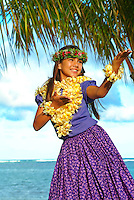 Keiki hula dancer at the beach