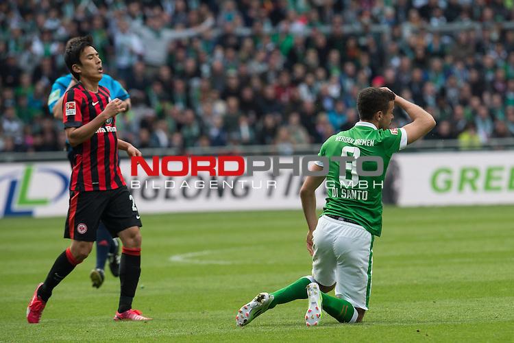 02.05.2015, Weser Stadion, Bremen, GER, 1.FBL. Werder Bremen vs Eintracht Frankfurt, im Bild<br /> <br /> <br /> Takashi Inui (Eintracht Frankfurt)<br /> Franco Di Santo (Bremen #9)<br /> foul<br /> <br /> <br /> <br /> Foto &copy; nordphoto / Kokenge
