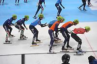 SHORTTRACK: DORDRECHT: Sportboulevard Dordrecht, 25-01-2015, ISU EK Shorttrack, Relay, Yuri CONFORTOLA (ITA | #40), Davide VISCARDI (ITA | #44), Semen ELISTRATOV (RUS | #61), Itzhak DE LAAT (NED | #50), Daan BREEUWSMA (NED| #49), Shaoang LIU (HUN | #36), ©foto Martin de Jong