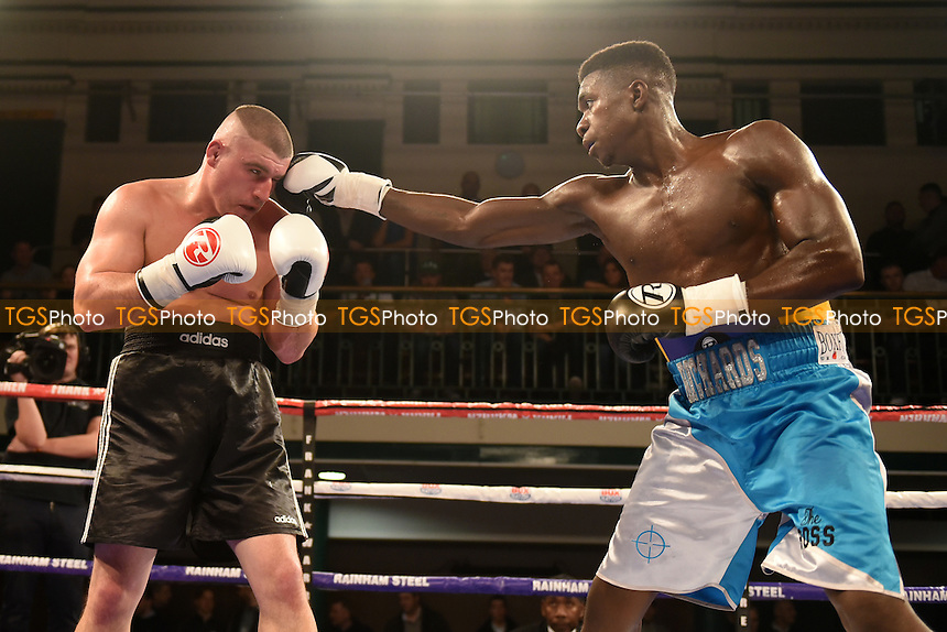 Lerrone Richards (blue shorts) defeats Atilla Tibor Nagy during a Boxing Show at York Hall on 24th February 2017