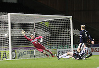 Sean Kelly's shot beats Alex Baird but ruled offside in the St Mirren v Dundee Clydesdale Bank Scottish Premier League Under 20 match played at St Mirren Park, Paisley on 14.1.13.