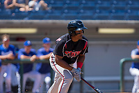 Lake Elsinore Storm Eguy Rosario (1) hustles down to first base against the Rancho Cucamonga Quakes at LoanMart Field on April 22, 2018 in Rancho Cucamonga, California. The Storm defeated the Quakes 8-6.  (Donn Parris/Four Seam Images)