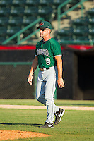 Augusta GreenJackets manager Mike Goff (9) walks to the mound during the South Atlantic League game against the Hickory Crawdads at L.P. Frans Stadium on May 11, 2014 in Hickory, North Carolina.  The GreenJackets defeated the Crawdads 9-4.  (Brian Westerholt/Four Seam Images)