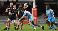 DURBAN, SOUTH AFRICA - APRIL 14: RG Snyman of the Vodacom Blue Bulls tackling Akker van der Merwe of the Cell C Sharks during the Super Rugby match between Cell C Sharks and Vodacom Bulls at Jonsson Kings Park Stadium on April 14, 2018 in Durban, South Africa. Photo: Steve Haag / stevehaagsports.com