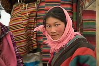 Tibetan Nomad Girl in Traditional Dress, Lake Manasarovar, Tibet