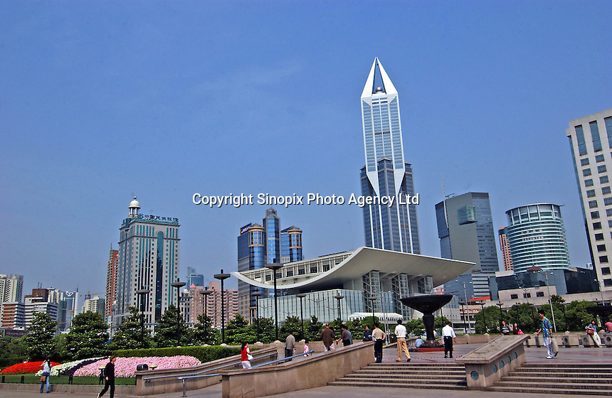 Shanghai Opera House at Shanghai Grand Theatre forms part of the modern skyline in downtown Shanghai, China. .