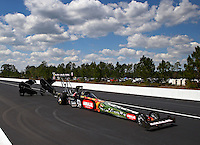 Mar 15, 2014; Gainesville, FL, USA; NHRA top fuel dragster driver Terry McMillen during qualifying for the Gatornationals at Gainesville Raceway Mandatory Credit: Mark J. Rebilas-USA TODAY Sports