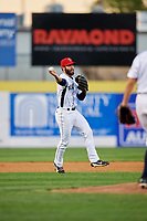 Binghamton Rumble Ponies shortstop Levi Michael (3) throws to first base during a game against the Erie SeaWolves on May 14, 2018 at NYSEG Stadium in Binghamton, New York.  Binghamton defeated Erie 6-5.  (Mike Janes/Four Seam Images)