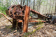 An abandoned tool conveyor belt at the Redstone Granite quarry in Conway, New Hampshire. This quarry opened in the late eighteen hundreds and closed in the nineteen forties.