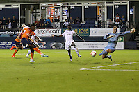 Pelly Ruddock of Luton Town (left) forces a save from Joe Day of Newport County during the Sky Bet League 2 match between Luton Town and Newport County at Kenilworth Road, Luton, England on 16 August 2016. Photo by David Horn.