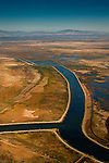 Aerial over canal and wetlands in the Grizzly Island Wildlife Area, Solano County, California