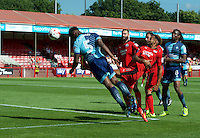 Anthony Stewart of Wycombe Wanderers has a header on goal during the Sky Bet League 2 match between Crawley Town and Wycombe Wanderers at Broadfield Stadium, Crawley, England on 6 August 2016. Photo by Alan  Stanford / PRiME Media Images.