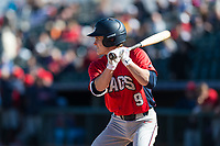 Gonzaga Bulldogs second baseman Carson Breshears (9) at bat during a game against the Oregon State Beavers on February 16, 2019 at Surprise Stadium in Surprise, Arizona. Oregon State defeated Gonzaga 9-3. (Zachary Lucy/Four Seam Images)