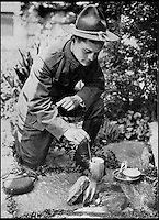 BNPS.co.uk (01202 558833)<br /> Pic:AmberleyPublishing/BNPS<br /> <br /> ***Please Use Full Byline***<br /> <br /> A First World War soldier cooking food. <br /> <br /> A cookbook for WWI soldiers has been published for the first time in 100 years revealing the surprising recipes that British Tommies lived on in the trenches.<br /> <br /> Hundreds of thousands of troops were armed with The British Army Cook Book as they headed to off war in 1914.<br /> <br /> The book contained detailed instructions on how to rustle up mouth-watering menus to feed entire platoons using meagre war-time rations.<br /> <br /> The dishes might sound tempting but in reality those on the frontlines would have had to rely more on powdered foods because fresh produce often took too long to reach them.<br /> <br /> The 1914 British Army Cook Book has been reprinted by Amberley Publishing for the first time since it was first issued 100 years ago.<br /> <br /> It is on sale now for &pound;9.99.