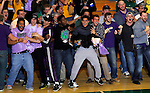 SPEARFISH, SD - FEBRUARY 22, 2014:  Black Hills State University fans celebrate a behind the backboard field goal by Riley Ryan to tie the game against CU-Colorado Springs and send the contest to overtime Saturday at the Donald E. Young Center in Spearfish, S.D.  (Photo by Dick Carlson/Inertia)