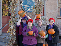 Members of the Red Hat Society, Prallsville Mills, Stockton, New Jersey