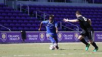 Orlando, Florida - Wednesday January 17, 2018: Edward Opoku and Lucas Stauffer. Match Day 3 of the 2018 adidas MLS Player Combine was held Orlando City Stadium.