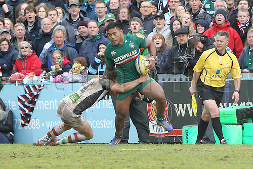 11.05.2013 Leicester, England.  Leicester Tigers Manusamoa Tuilagi on the charge during the Aviva Premiership Semi Final game between Leicester Tigers and Harlequins from Welford Road.