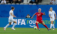 GRENOBLE, FRANCE - JUNE 15: Sophie Schmidt #13 of the Canadian National Team attempts to control the ball during a game between New Zealand and Canada at Stade des Alpes on June 15, 2019 in Grenoble, France.