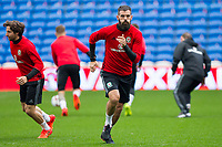 Joe Ledley during Wales national team training ahead of the World Cup Qualification match against Republic of Ireland at Cardiff City Stadium, Cardiff, Wales on 8 October 2017. Photo by Mark  Hawkins.