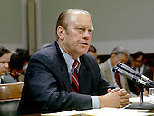 "United States President Gerald R. Ford testifies before the United States House Committee on the Judiciary on October 17, 1974 to explain why he pardoned former president Richard M. Nixon for his wrongdoings during the Watergate affair. In his testimony, the first by a sitting President, Ford explained that there were no deals connected with the pardon. <br /> Credit: Benjamin E. ""Gene"" Forte - CNP"