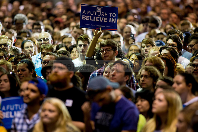 U.S. Senator and presidential candidate Bernie Sanders speaks to a crowded Heritage Hall at the Lexington Convention Center in Lexington, Ky. on Wednesday, May 4, 2016. The Kentucky democratic primary is on May 17th. Photo by Michael Reaves   Staff.