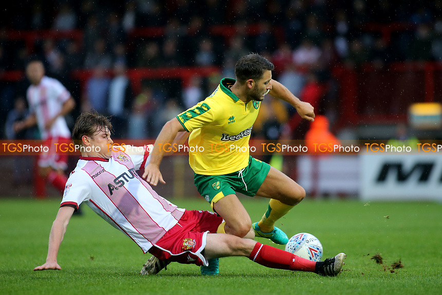 James Ferry of Stevenage tackles Norwich City's Wes Hoolohan during Stevenage vs Norwich City, Friendly Match Football at the Lamex Stadium on 11th July 2017